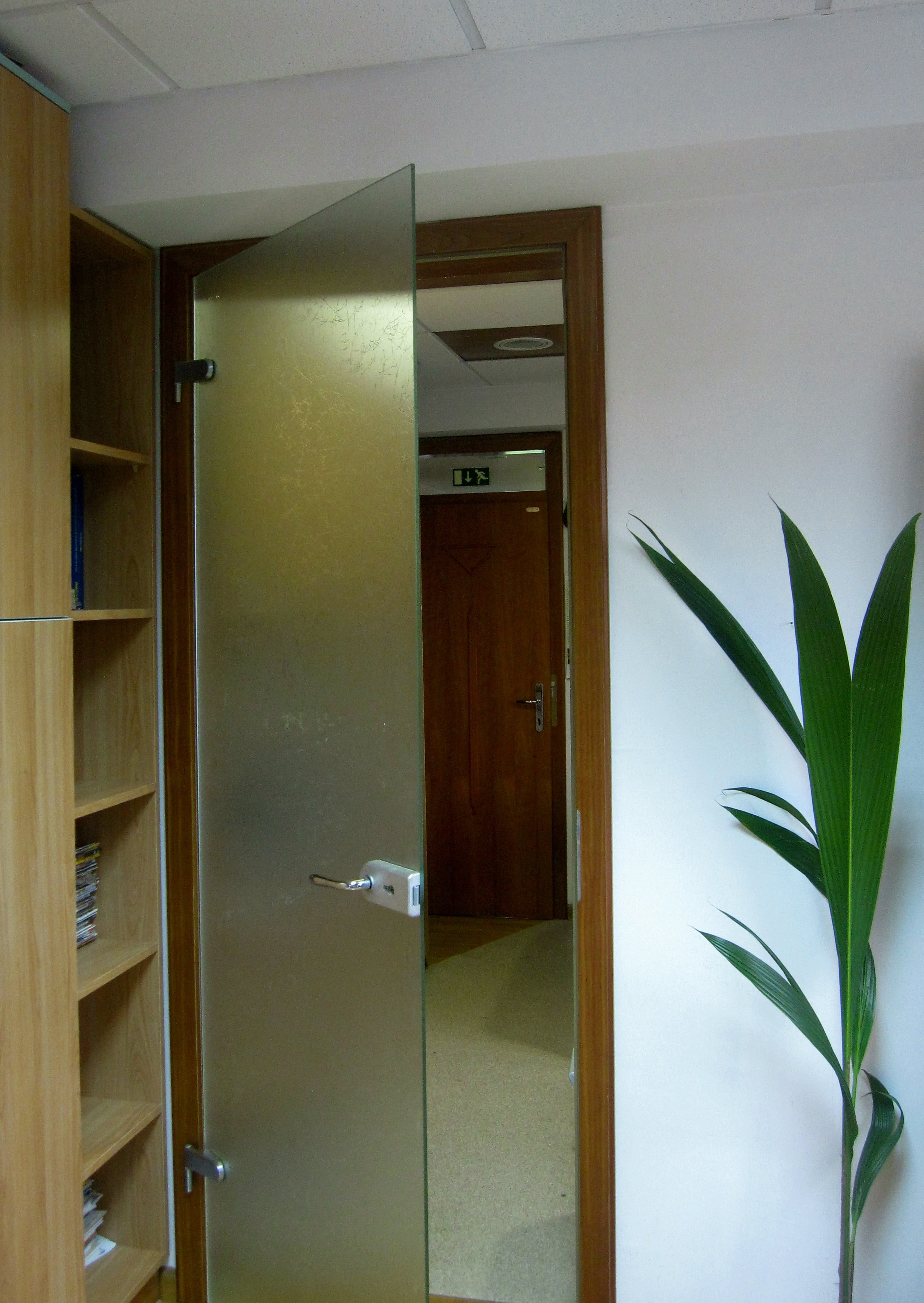 Steklena notranja vrata na lesenem podboju