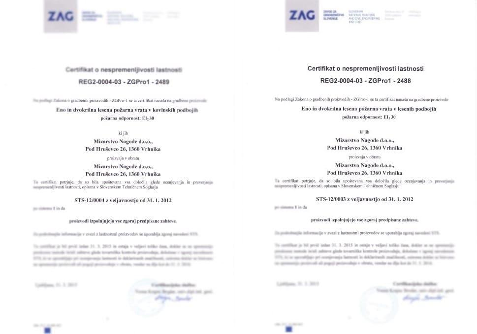 Požarna vrata certifikat EI30